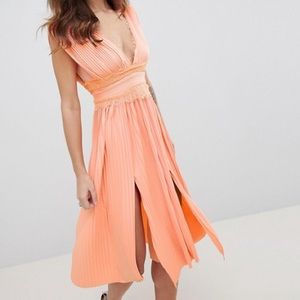NWOT ASOS Salmon Coral Pleasted Cocktail Dress